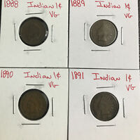 1888 1889 1890 1891 1c Indian Head Cents Vg Very Good