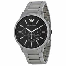 Emporio Armani AR2460 Sportivo Silver Black Chronograph Dial Men's Watch