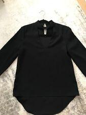 Zara Long Sleeve Black Blouse With V Neck And Chocker Neck Line