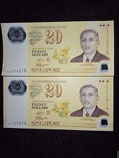 2 Singapore Commemorative $20 note (running number)
