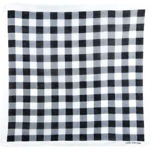 Black/White Large Square Check 100% Cotton Bandana Head Scarf