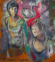 Heiko Pippig *1951 Leipziger Schule: 2 Freundinnen mit Schwan Acryl 165 x 145 cm