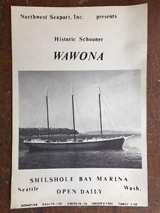 4 Vintage Wawona Schooner Ship Northwest Seaport Seattle WA Posters Signs