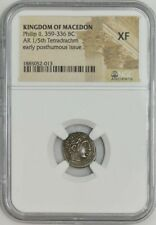 Kingdom of Macedon Phillip II 359-336 BC AR 1/5th Tetradrachm XF NGC 939475-1