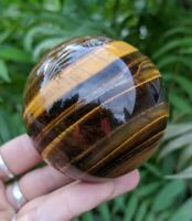 64mm GOLD TIGER'S EYE Sphere w Extra Quartz! Crystal Reiki Charged Healing 14oz
