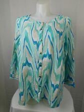 JM Collection Plus Size Button Down Linen Blend Top 1X Aqua Sunset #3548
