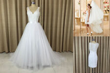Detachable Train Skirt Illusion Lace Back Wedding Dresses Two Piece Bridal gown