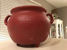 Vintage RED MEXICAN SOUTHWEST POTTERY GARDEN PLANTER Footed Clay Pot W Handles