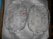 OBLONG GLASS SERVING TRAY W/PINK TINTED ROSES - 2 available.
