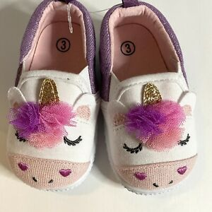 New  Infant Toddler SLip On Shoes Unicorn Pink Purple Size 3 3T NEW PA