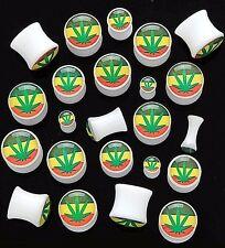 Pair Acrylic 00g White Pot Leaf Weed Marijuana Rasta Saddle Plugs 10mm Ear Gauge