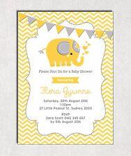 ELEPHANT Baby Shower Invitation Yellow Grey Chevron Neutral Unisex Jungle Invite
