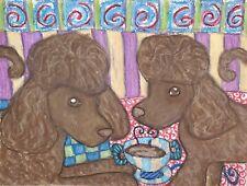 Irish Water Spaniel drinking Coffee Original 9x12 Painting Vintage Style Dog Art
