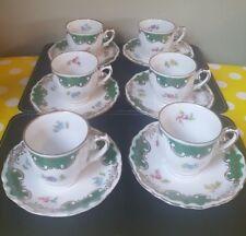 Vintage 1920-30 Bavaria Gebruder Winterling Co 6 Porcelain Coffee Cans & Saucers
