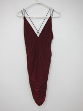 Missguided Slinky Double Strap Ruche Bodycon Dress - US 6 - Burgundy - NWT