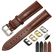 Replacement Wristwatch Strap Genuine Leather Watch Band Black Brown 23 24mm Mens