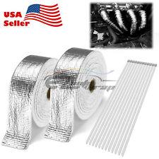 """2 Roll x 2"""" 50FT Silver Exhaust Wrap Header Manifold Fiberglass Heat Wrap Tape"""