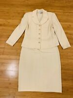 St John by Marie Gray Evening Knit Skirt 2 Piece Suit Beige Sz 12 Preloved