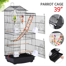 "Bird Cage Parrot Finch Budgie Cockatiel Pet Play Metal Cage Black 39"" Usa"