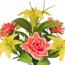Artificial Silk Lilly Flowers Wedding Valentines Memorial Grave- Yellow / Orange