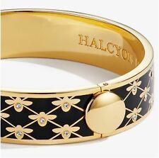 Halcyon Days Bee Sparkle Trellis Black Enamel Hinged Bracelet, New Pouch & Box