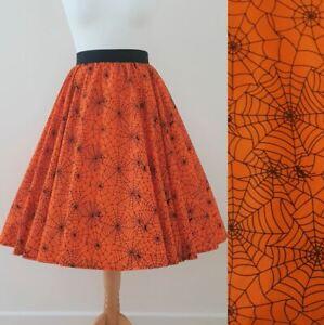 1950s Circle Skirt Miss Muffet All Sizes - Orange Spider Webs Halloween Spooky