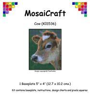 mosaicraft Pixel Basteln Mosaik Kunst Set 'KUH ' (wie Malen nach Zahlen)