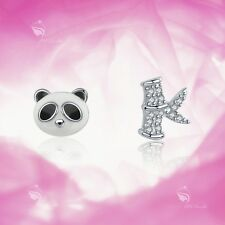 925 silver earrings simulated diamond panda bamboo stud for kids baby cute