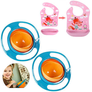 Baby Feeding Set Bowls Bibs 360Degree Rotating Toddler Spill-Proof Removable Bib