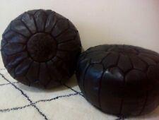 2 Black Authentic MOROCCAN POUF Leather Pouf Ottoman Pouffe footst