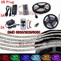 5M 60LED/m Strip Light SMD 5050 5630 3528 RGB/White Flexible+Remote+Power Supply