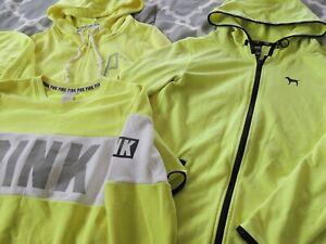 Huge LOT Victoria's Secret PINK Zip Up Hooded Hoodie Sweatshirts NEON XS S Logo