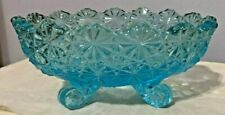 Vintage Fenton Blue Depression Carnival Glass Footed Candy Dish - Daisy & Button