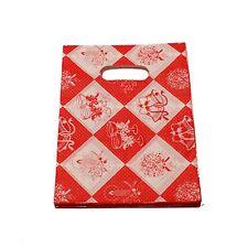 lot 50 pochettes sac sachet plastique fantaisie 15x9 rouge noel cadeaux,bijoux