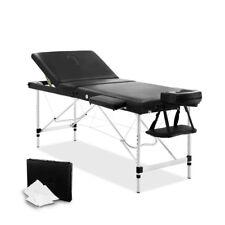 Portable Massage Table Chair Bed Aluminium 3 Fold Black 183x60x87cm