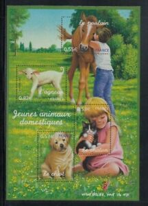 FRANCE Young Domestic Animals MNH souvenir sheet
