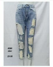 LADIES TATTERED JEANS #380 ( LIGHT BLUE) SIZE 28