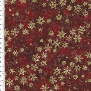 """(€18,00/m)Patchworkstoff -  """" Shimmer Frost """" rot / gold - 25 x 110cm"""