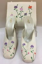 Ladies Shoes by Kit size 7 EU41  with Matching Bag - white with Floral (D3)