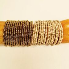 """Set of 2"" Gold & Cream Multi Strand Beaded Bangle Handmade Cuff Bracelets"