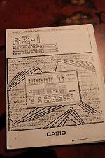 CASIO RZ-1 RZ1 Drum Machine, Manual for Analog 1980's Rhythm Composer Drumming !