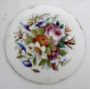 Belle PLAQUE en Porcelaine de Paris peinte XIXème siècle Fleurs