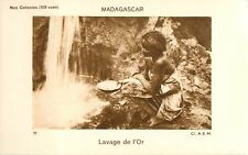 Orpaillage Lavage de l'or Madagascar Africa Colonie France IMAGE CARD 1900s