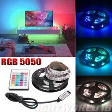 5050 RGB LED Light Strip Computer TV Room Background Lamp Kit+USB Remote Control
