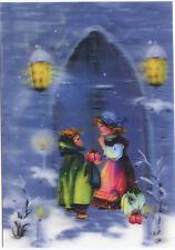 Victorian Children  - Christmas - 3D Lenticular Postcard Greeting Card