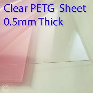0.5mm Clear PETG sheet - for face mask Visors, crafting, doll house, easy cut