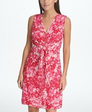 NWT DKNY 12 Pink White Sleeveless Floral Printed Zip Front Aline Tie Waist Dress