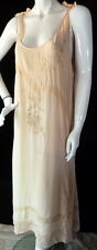 BEAUTIFUL Vintage 1920s Peach Silk & Alencon Lace Nightgown or Dress LARGE
