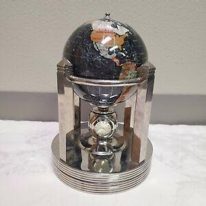 Alexander Kalifano Black Opalite Semiprecious Gemstone Inlay Rotating Globe