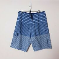 Billabong Mens Size W32 Navy Blue Striped Beach Swim Trunks Surf Board Shorts